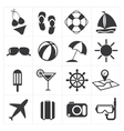 icons summer set vector image