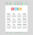 2018 simple business wall calendar color bar code vector image vector image