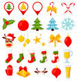 26 colorful cartoon christmas elements vector image vector image