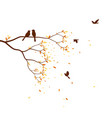 autumn season with falling leaves with bird vector image vector image