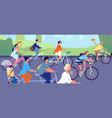 bicycle parade cyclists on nature cycling event vector image