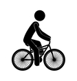 black silhouette person in bicycle vector image vector image