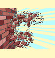 brick wall breaks through destruction vector image