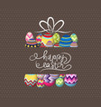 brown paper card with gift easter eggs vector image vector image