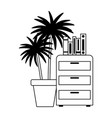 cabinet books and potted plant office isolated vector image