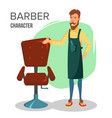cartoon barber character classic lounge vector image