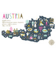 cartoon map austria with legend icons vector image