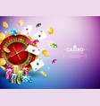 casino with roulette wheel falling vector image vector image