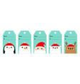 christmas gift tag set santa claus white polar vector image vector image