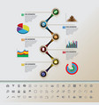 colorful buttons timeline with set of icons vector image vector image