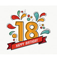 Colorful happy birthday number 18 flat line design vector image vector image