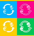 currency exchange sign euro and turkey lira four vector image vector image