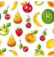 cute funny fruits seamless pattern pear apple vector image vector image