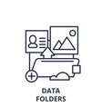 data folders line icon concept data folders vector image vector image