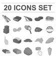 different meat monochrome icons in set collection vector image