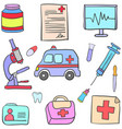 doodle of medical cartoon style vector image