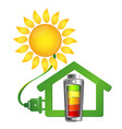 eco house and solar energy vector image vector image