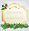 elegant golden christmas card with pinecones vector image