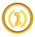 First place laurel label icon vector image