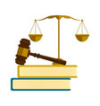 golden balance a gavel and books vector image