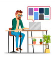 graphic designer working man searching for vector image vector image