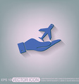 hand holding a airplane symbol icon of air travel vector image