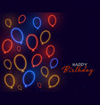 happy birthday card in neon balloons decoration vector image