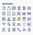 home appliances thin line icons set vector image