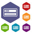 login and password icons set vector image vector image