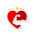 Muscular arm on heart shape with crown of stars vector image