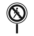 No pedestrian sign icon simple style vector image vector image
