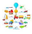 open world icons set cartoon style vector image vector image