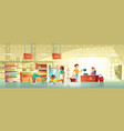 people in supermarket interior cartoon vector image vector image