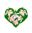 Pink Hibiscus Flowers in A Heart Shape vector image vector image