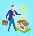 real estate agent with a key and house model vector image