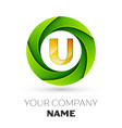 realistic letter u logo in the colorful circle vector image vector image