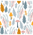 seamless jungle pattern with bunny mushrooms and vector image vector image