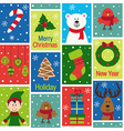 seamless pattern with christmas characters and vector image
