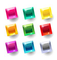 set cartoon square different color crystals vector image