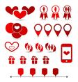 Set infographic elements of valentine presentation vector image vector image