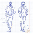 set of two men with skull beard moustache vector image vector image