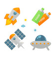 spaceships set and food in tubes colorful poster vector image vector image