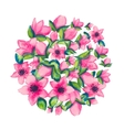 spring watercolor with colorful flowers sacura vector image