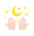 star and crescent with hand ramadan related flat vector image vector image
