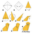 Step instructions how to make origami a monkey