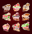 stickers for bakery shop desserts vector image vector image