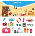 Summer Vacation Travel Concept Icons Set vector image