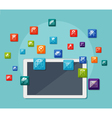 Tablet with icons on communication concept vector image vector image
