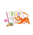 tiger reading library book kids animal at school vector image vector image