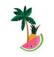 tropical pineapple watermelon palm tree vector image